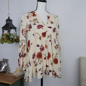 Max Jeans Boho Floral Babydoll Notched Blouse XS